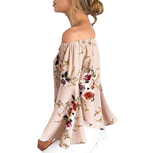 mioim Damen Schulterfreies Oberteile Sommer Blumendruck Langarm Shirt Lose Casual Bluse Tops T-Shirt Mode Khaki