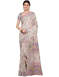 AppleCreation Women Pashmina Silk Saree With Blouse Piece Ethnicwear(Off-white_Free Size _KSMR19004B)