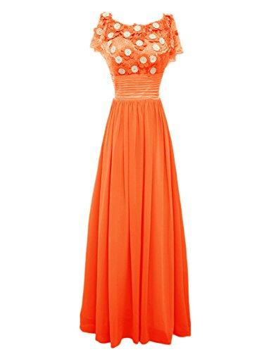 Dressystar Robe femme, Robe de soirée longue,à fleur,en Mousseline,dentelle Orange