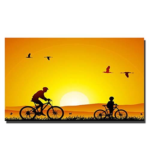 LIYANGFBH Digitaldruck Sonnenuntergang Landschaft Wandkunst Bilder Vater Und Sohn Leinwand Tiere Wand Poster Für Kinderzimmer Dekoration-70x100 cm Kein Rahmen