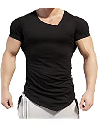 Camiseta de manga corta Hombre Verano Blusa de corte irregular de algodón camisetas camisas Tops Amlaiworld (Blanco, XL)