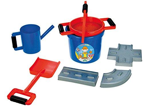 Lena 05442 - Happy Sand Spielset Straߟenbau, 7 teiliges Set, blau, Sandspielzeug Set für Kinder ab 2 Jahre, Bauspielset mit Eimer, Sieb, 3 Straßenbau Förmchen, große Sandschaufel und Ölkanne