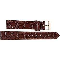 15 mm Imperial Watches Leather Band Watch Strap Dark Brown 15 mm Clasp Leather Watch Strap - Yellow