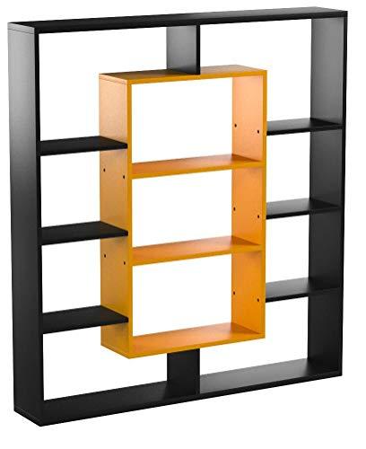 HOMIDEA Venus Libreria - Scaffale per Libri - Scaffale per Ufficio/Soggiorno dal Design Moderno (Nero/Arrancio)