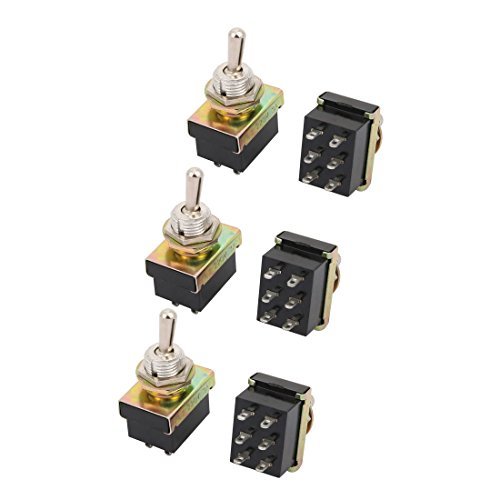 Sourcing map 6pcs KN3-3 C.A. 220V 3A DPDT On-OFF 2