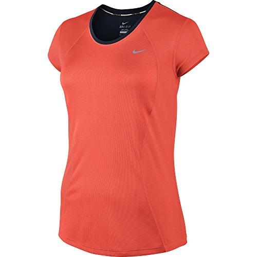 Nike Damen Kurzarm Shirt Racer, Bright Crimson/Obsidian/Reflective Silv, XS, 645443-671 (Damen Shirt Crimson)