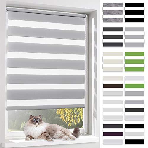 BelleMax Rollo für Tag und Nacht, doppelter Stoff, weiß, Vorhang ohne Bohren, mit Clips, mehrfarbig, 2 Arten von Installation und einfache Montage, Stoff, grau, 90 x 150cm