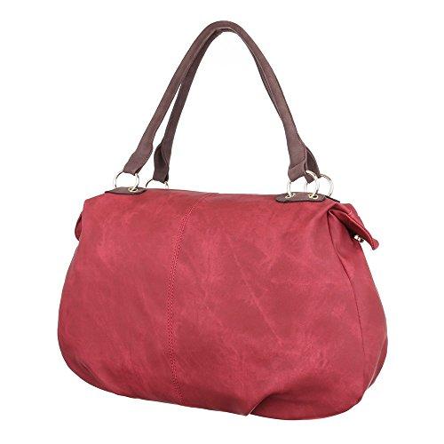 Damen Tasche, Schultertasche, Große Handtasche In Used Optik, Kunstleder, TA-A-676 Rot