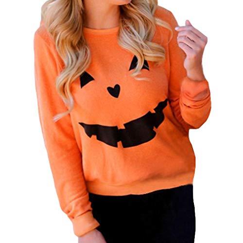 juqilu Dames Halloween Sweatshirt 3D Effrayant Citrouille Smile Face Imprimer Pull Tops Blouse Orange M