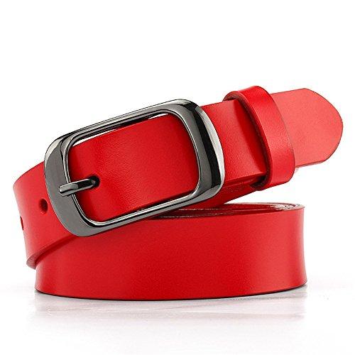 Preisvergleich Produktbild Yzibei Wild Weicher breiter Ledergürtel für Jeans Shorts,  Ledergürtel mit Metallschnalle (Farbe : Rot,  Größe : 105cm)