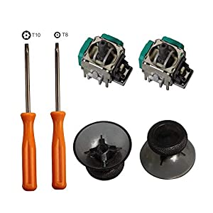 Ersatz 3D Controller Rocker Joystick Achse Analog Sensor Modul, Thumbstick Rrips Ersatz für Xbox One , T8 T10 Torx Schraubendreher Reparatursätze für Xbox One Controller