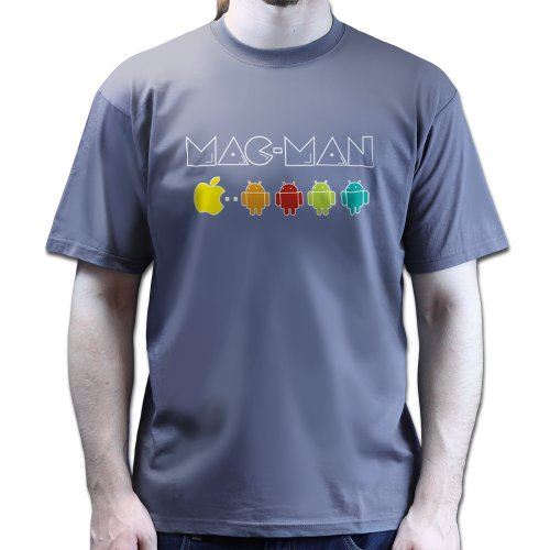 Mac Man Pac Android and Apples T-shirt Dunkelgrau