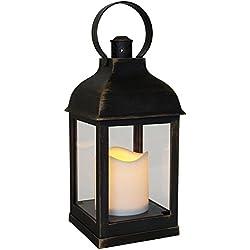 "Laterne mit LED 2er set 10,5 x 10,5 x 24 cm Lampe Kerzen Leuchte"" TOP"" 36396"