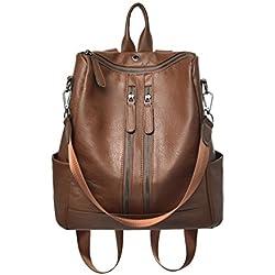 mochila de cuero Marrón olsos de Hombro bolsa de mano de moda para mujer