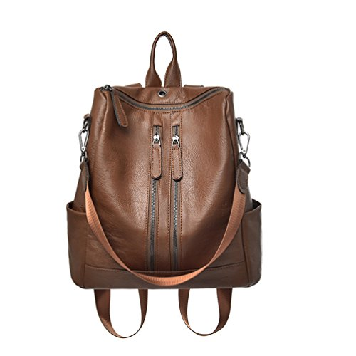mochila de cuero Marrón bolsos de Hombro bolsa de mano de moda para mujer