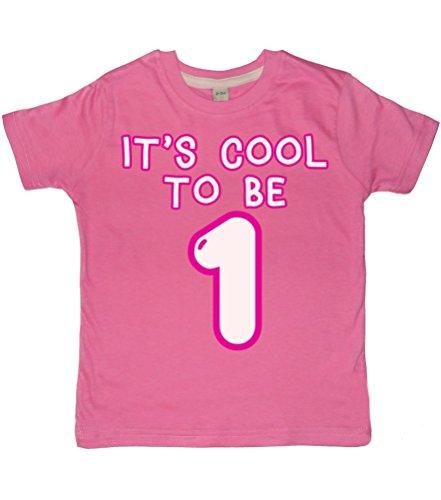 1-Bubblegum Pink Mädchen Geburtstag T-Shirt in Größe 1-2Jahre mit Einer weiß & pink Glitter Print Gr. One Size, Bubblegum pink ()