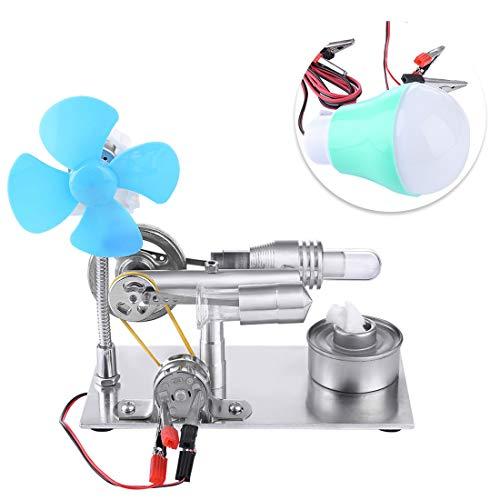 TETAKE Stirlingmotor Bausatz mit Ventilator und Lampe Sterling Motoren Stirling Engine Dampfmaschine Spielzeug für Kinder Erwachsene Technikinteressierte Bastler
