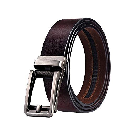 WinCret Cinturón Cuero Cinturón Automático para Hombre Cinturón de Trinquete de Cuero Genuino con Hebilla Automática Inteligente 3.5 cm de Ancho Cinturón de Regalo Casual para Hombre