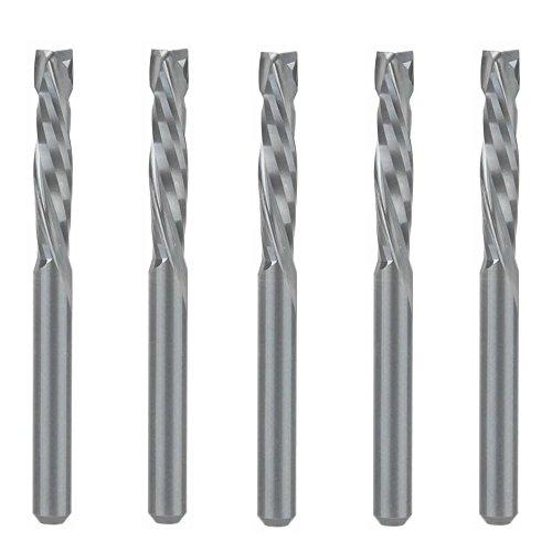 EU_HOZLY UP & DOWN Cut 3.175x17mm Zwei Flöten Spiral Carbide Tool für CNC Router Kompression Holz Ende Mill Cutter Bits Pack von 5 (Bit Cutting Spiral)