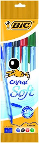 Bic cristal soft punta media 1,2 mm confezione 4 penne colori assortiti