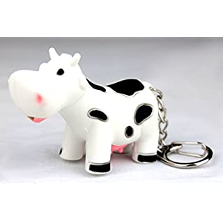 PK Green LED Cow Keyring with Light and Sound - Farm Animal LED Keychain by
