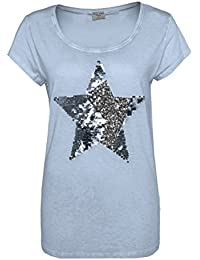 Fresh Made Camiseta de Mujer con Estrella de Lentejuelas | Lavado Vintage EN Azul, Gris y Naranja