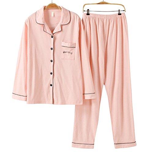 Dolamen Femme Pyjamas, Femmes Ensemble de Pyjama Hiver, 100% Coton Ensemble pyjama en, Manche Longue & Pantalon Longue avec les poches Rose