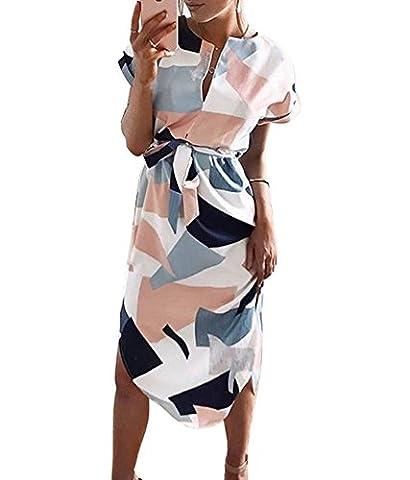 Femme Sexy Cou V Robe Imprimé à À Carreaux Géométrique à Manches Courtes Midi Robe de Plage Soirée Cocktail avec Ceinture (S: 34/36, Stripe)