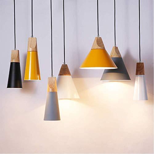 W-LI Pendentlampe für Küche, E27 Macarons Kronleuchter mit Bunter Metalldekoration Hängelampe für Restaurant Restaurant Cafe Gelb 25X26Cm -