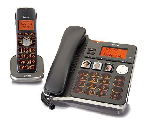 Switel D200 Vita Comfort DECT Telefon Set mit Mobilteil, großen beleuchteten Tasten und Displays, hörgerätekompatibel und extra lauter Klingelton