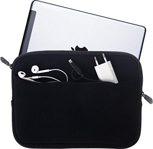 honju Tablet PC Sleeve Tasche - Universal Schutzhülle für Geräte bis zu 10,1 Zoll für Tablets, Laptop, Netbook, Notebook [Große Außentasche mit Reißverschluss und weichem Innenfutter] - schwarz