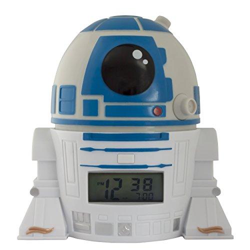 BulbBotz Star Wars 2021401 R2D2 Kinder-Wecker mit Nachtlicht und typischem Geräusch | blau/weiß| Kunststoff | 14 cm hoch | LCD-Display | Junge/ Mädchen | offiziell (Hohe Sound-wecker)