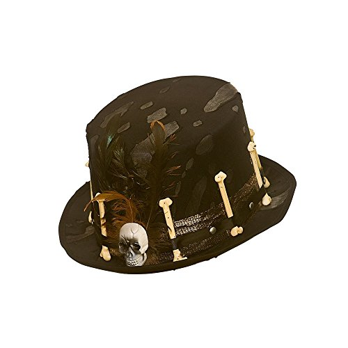 Adults Voodoo Black Top Hat with Bones & Feather Fancy Dress (Kostüm Voodoo Skull)