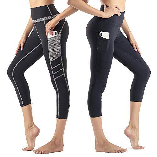 Wirezoll Damen Leggings 3/4, Blinkdicht Yoga Leggings Sporthose Fitnesshose mit Taschen
