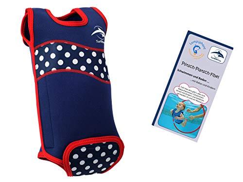 Lampiphant® + Konfidence Babywarma, Schwimm-Anzug mit Plitsch-Platsch-Fibel, Blau-weiß gepunktet, 6-12 Monate