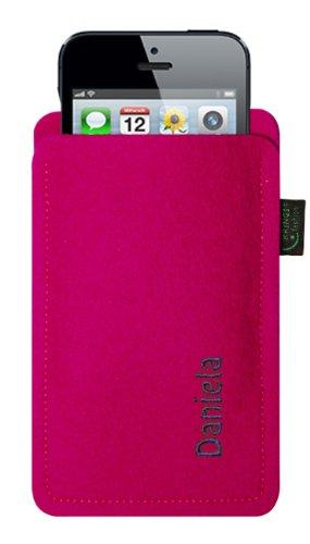 Filztasche für iPhone SE und iPhone 5/S, pink, mit Name oder Wunschbegriff bestickt, Stickfarbe lime, 100 % Wollfilz, verschiedene Stickfarben zur Auswahl, Übermittlung Ihres Wunschbegriffs siehe Besc Stickfarbe lila