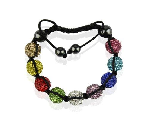 Ducomi® Alia Zen Shamballa bracciale regolabile con 9 sfere cristallo 12 mm (Multicolour)
