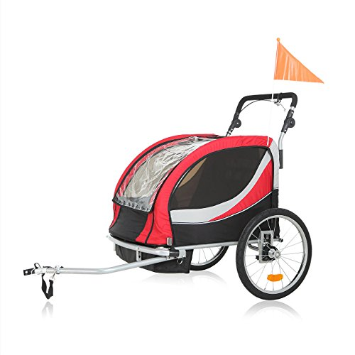 SAMAX PREMIUM Fahrradanhänger Jogger 2in1 360° drehbar Kinderanhänger Kinderfahrradanhänger Transportwagen vollgefederte Hinterachse für 2 Kinder in Rot/Grau - Silver Frame - 4