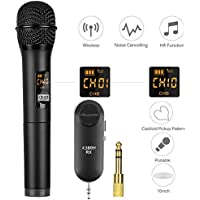 Micrófono Inalámbrico UHF, Mbuynow Micrófono Inalámbrico de Mano Portátil Bluetooth con Mini Receptor para Karaoke Fiesta Reunión de Negocio Conferencia Boda etc.