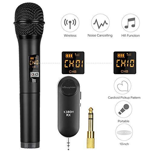 Wireless Microfono Palmare 10 Canali Selezionabili di UHF con Ricevitore Bluetooth e Convertitore 6,5 mm Jack Audio per Karaoke, Presentazione, Discorso, Guida Turistica, Lezione ecc