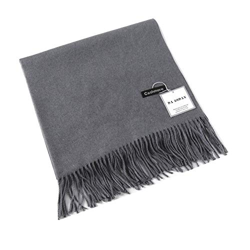 MMYOMI Frauen Männer Liebhaber Unisex glatt Kaschmir Schal 100% super weiche Plaid solide Pashmina Wrap Schal Schal (Dunkel grau) - Koordiniert 20