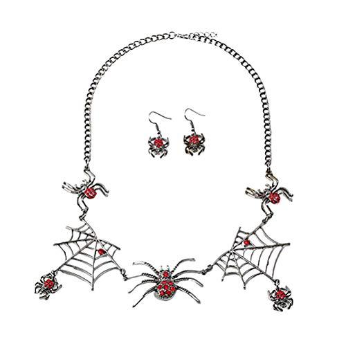 Kostüm Bilder Spinnennetz - Amosfun halloween ohrringe und halsketten set schöne spinnennetz ohrstecker hängen anhänger halloween schmuck geschenk für frauen mädchen halloween kostüm zubehör