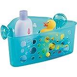 mDesign - Canasto rinconero para el cubículo de ducha, para el baño de los niños/bebés, con ventosas; guarda juguetes para el baño, champú, acondicionador, jabón - Agua transparente