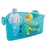 mDesign Kinder-/Baby-Badezimmer Dusch-Eckkorb mit Saugnäpfen für Badespielzeuge, Shampoo, Conditioner, Seife - Aqua Durchsichtig