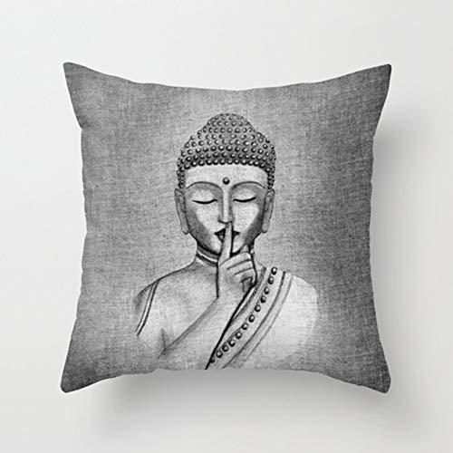 """Migvela Funda de Almohada Linda Funda de cojín Funda de Almohada Cojín Funda de Almohada Sofá Oficina en casa Decorativa 18""""x 18"""" Estatua de Buda"""