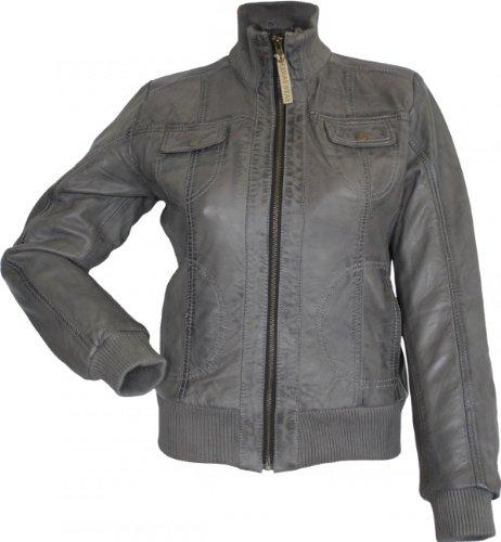 Damen Lederjacke Trend Fashion echtleder Jacke aus Lamm Nappa Leder grau, Größe:46