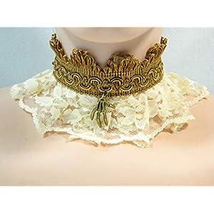 Halsband creme braun Skelett Hand Steampunk Viktorianisch Barock Rokoko Halskrause Choker