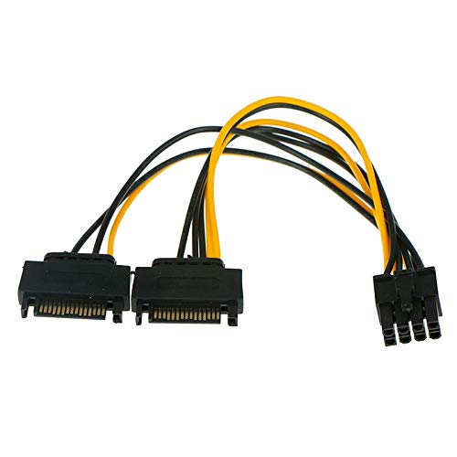 Computer Cables & Connectors - 20cm 1 In 2 Male 15pin To 8pin Sata Cable Dual Power 15p 8p Graphics Card 18awg Wire Connector - Extension Male Cable Connector Cable Card Drive Motherboard Cab - Circuit Card Assembly