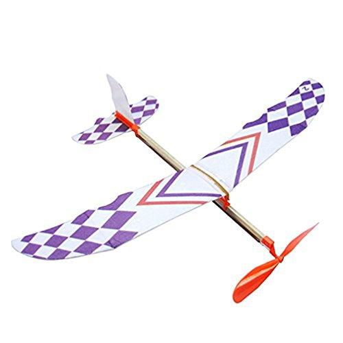 SEVENHOPE DIY Kinder Früherziehung Spielzeug Gummiband Powered Segelflugzeug Zusammenbau Flugzeuge