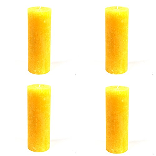 4-x-bougies-rustic-cylindrique-jaune-oe-68-x-190-mm-lot-de-4-bougies-pilier-de-bougies-pilier-bougie